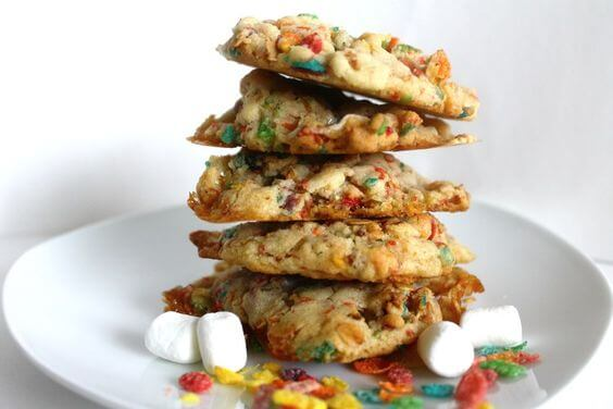fruity pebble cookies stack horizontal shot
