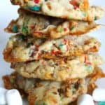 stack of fruity pebble cookies close up shot
