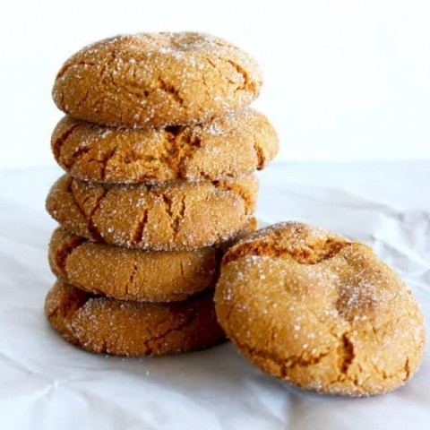 Soft Molasses Cookies stacked on top of each other