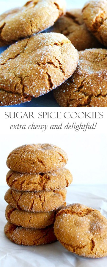 Sugar Spice Cookies: chewy ginger cookies that are perfect around the holidays! Recipe via MonPetitFour.com