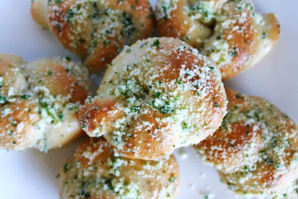 garlic knots overhead shot