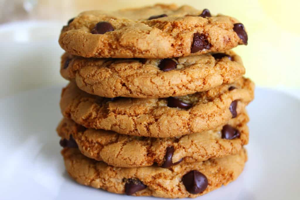 brown butter chocolate chip cookies stacked on top of each other