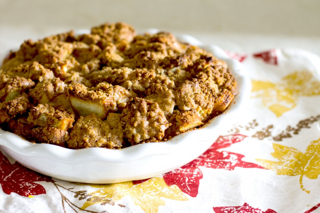Overnight French Toast Bake in a pie dish