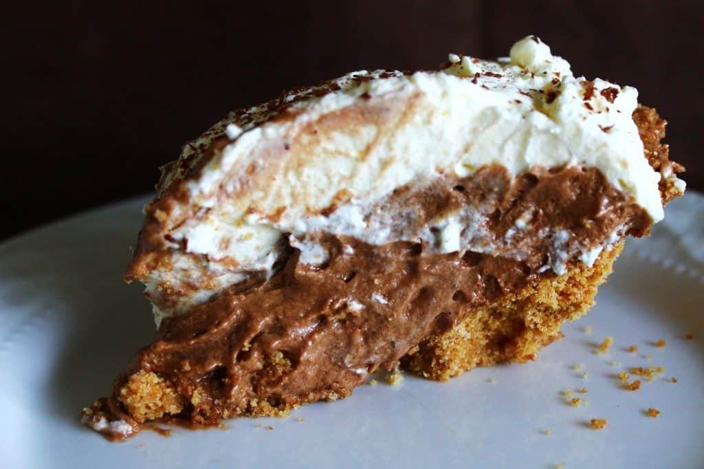 French Silk Pie slice on a plate image