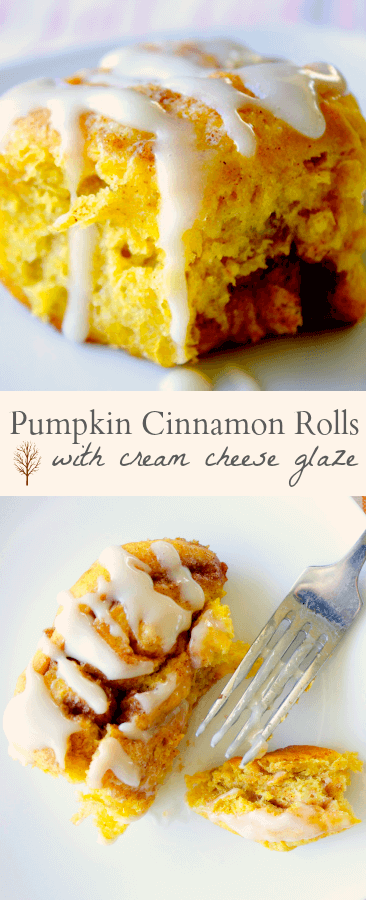 Pumpkin Cinnamon Rolls with Cream Cheese Icing - Mon Petit Four