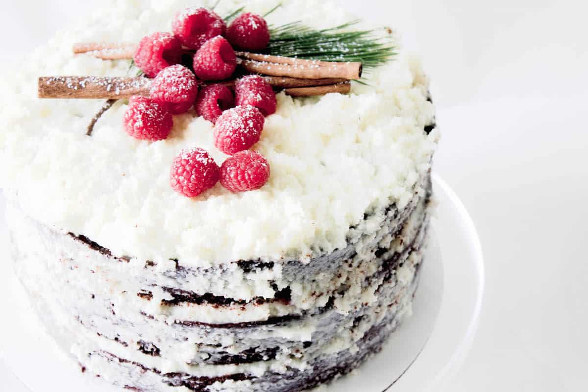 chocolate raspberry cake with mascarpone frosting