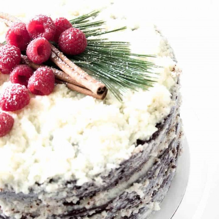 chocolate raspberry cake layers