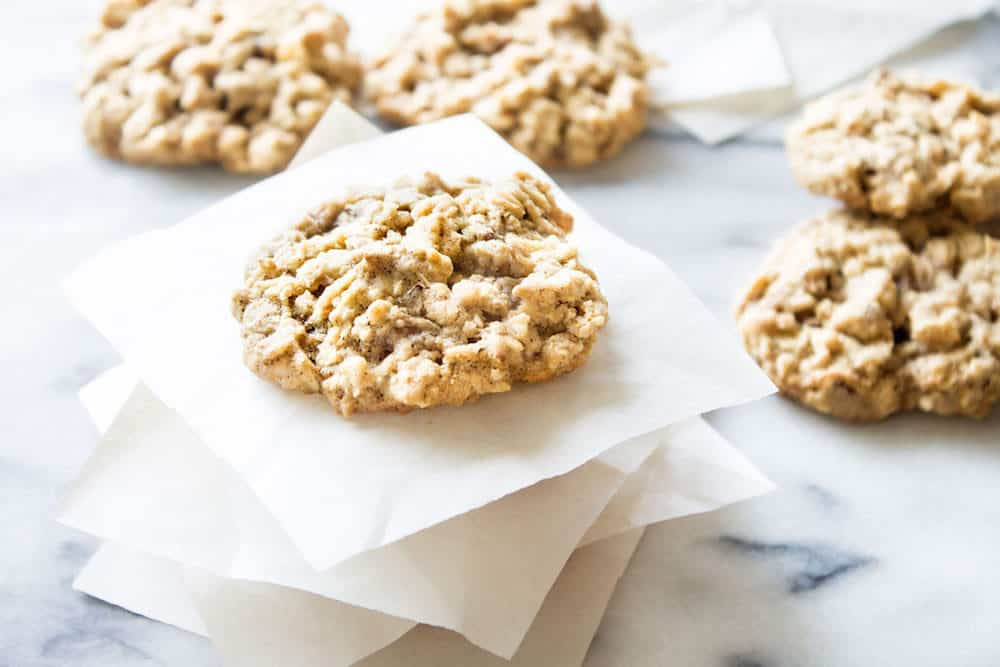 view of the top of an oatmeal cookie