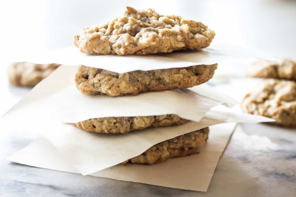 Oatmeal Cookies stacked on top of each other