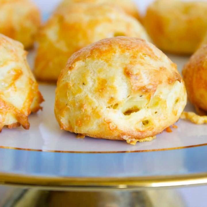 gougeres recipe on a serving platter