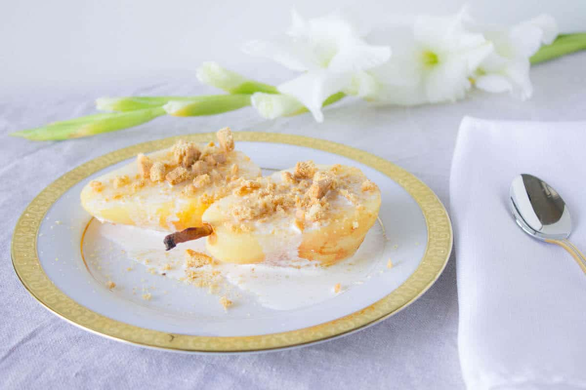 Baked Pears with Cream and Honey Cracker Crumbs
