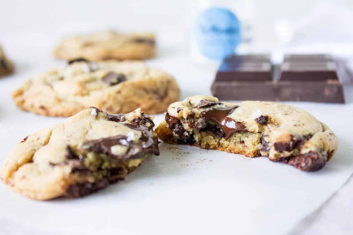 Salted Dark Chocolate Chunk Cookies - Mon Petit Four