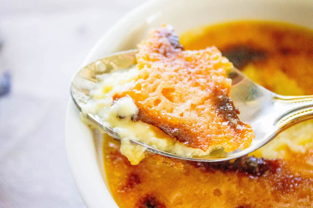 lavender creme brulee on a spoon