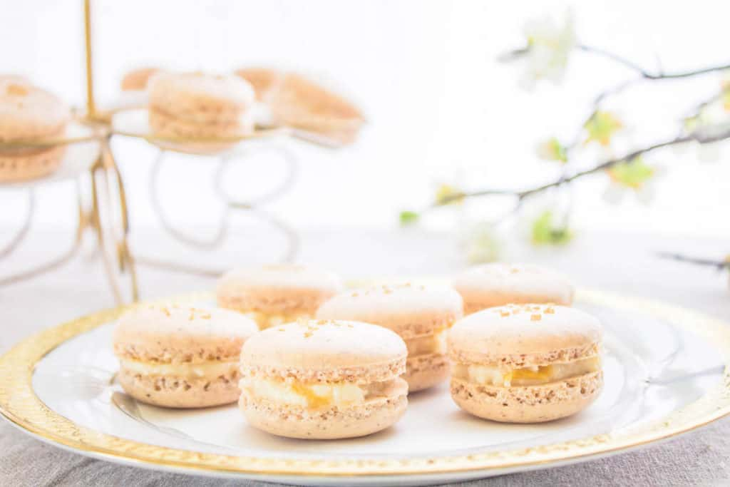 French macarons recipe on a gold plate