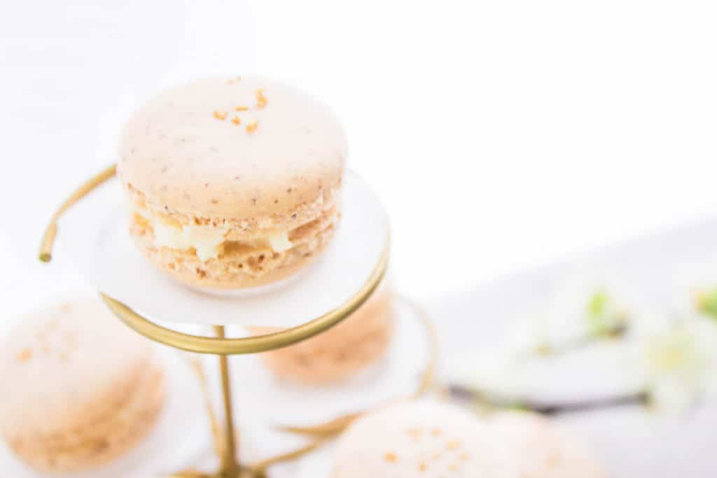 close-up shot of French macarons with apricot filling