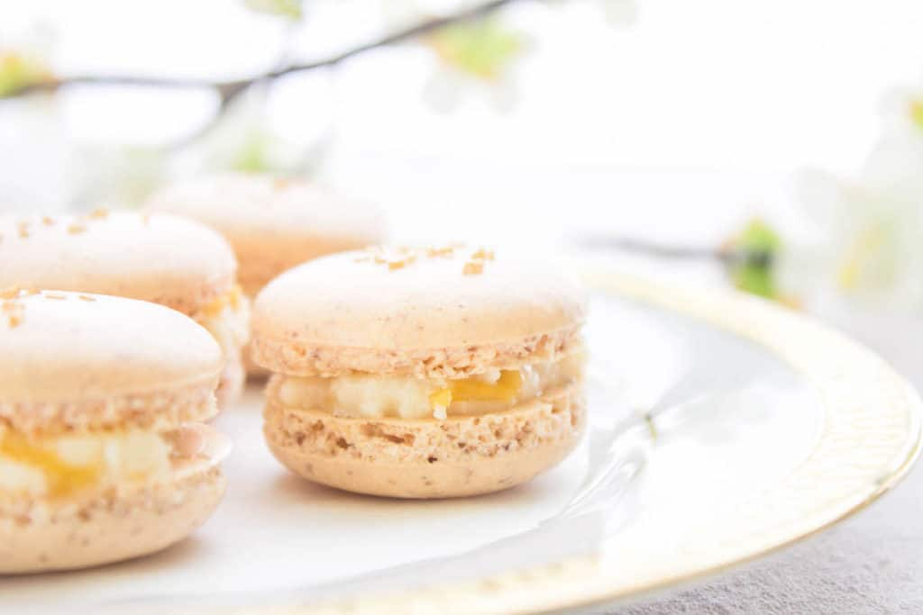 French macarons with apricot cream cheese filling