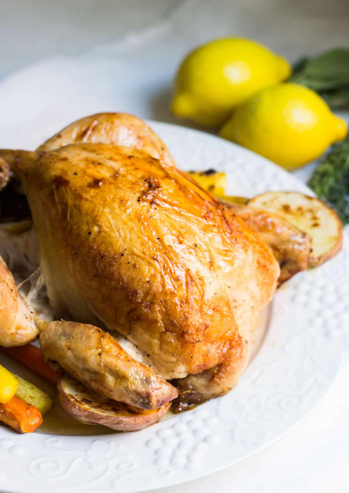 Poulet Roti: Roast chicken done the French way. A recipe for juicy, crisp chicken that'll taste and look fantastic. Recipe via MonPetitFour.com