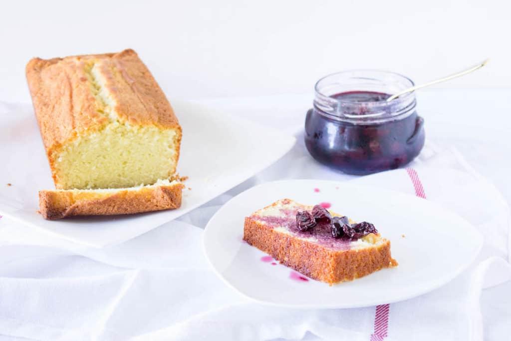 French Yogurt Cake Recipe with Cherry Sauce