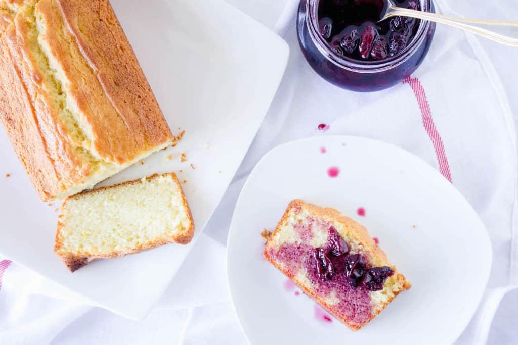 french yogurt cake with cherry syrup