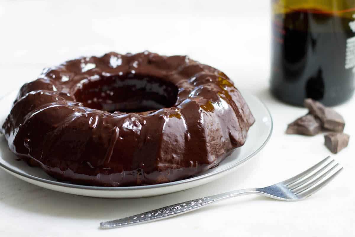 Dark Chocolate Cake with Red Wine Glaze - Mon Petit Four