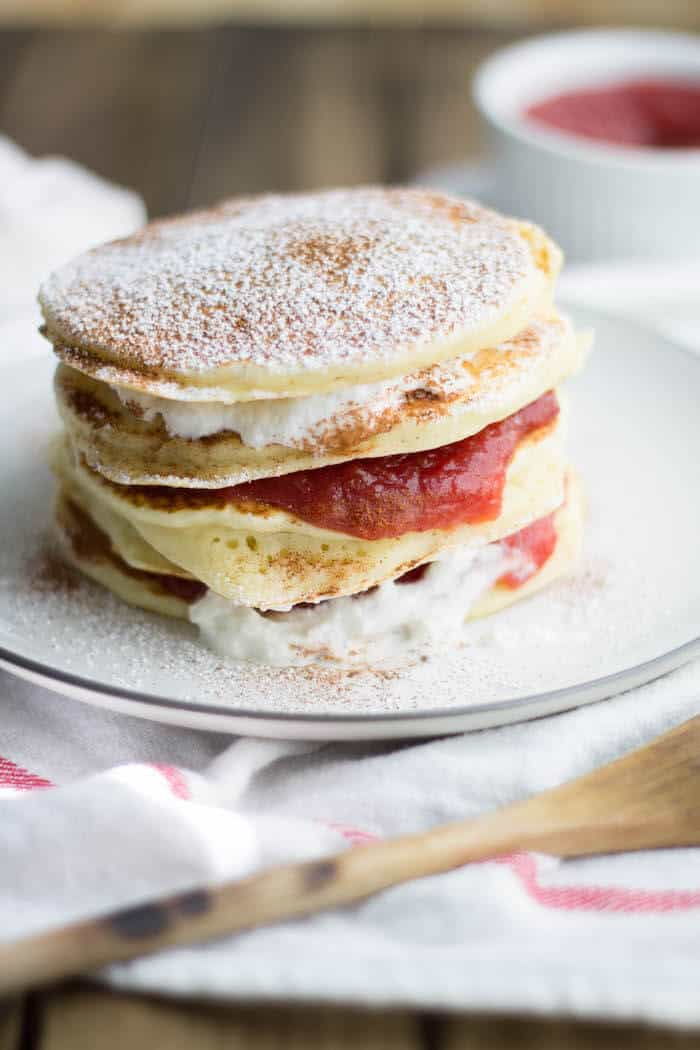 pancakes with plum compote