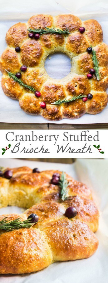 cranberry stuffed brioche wreath