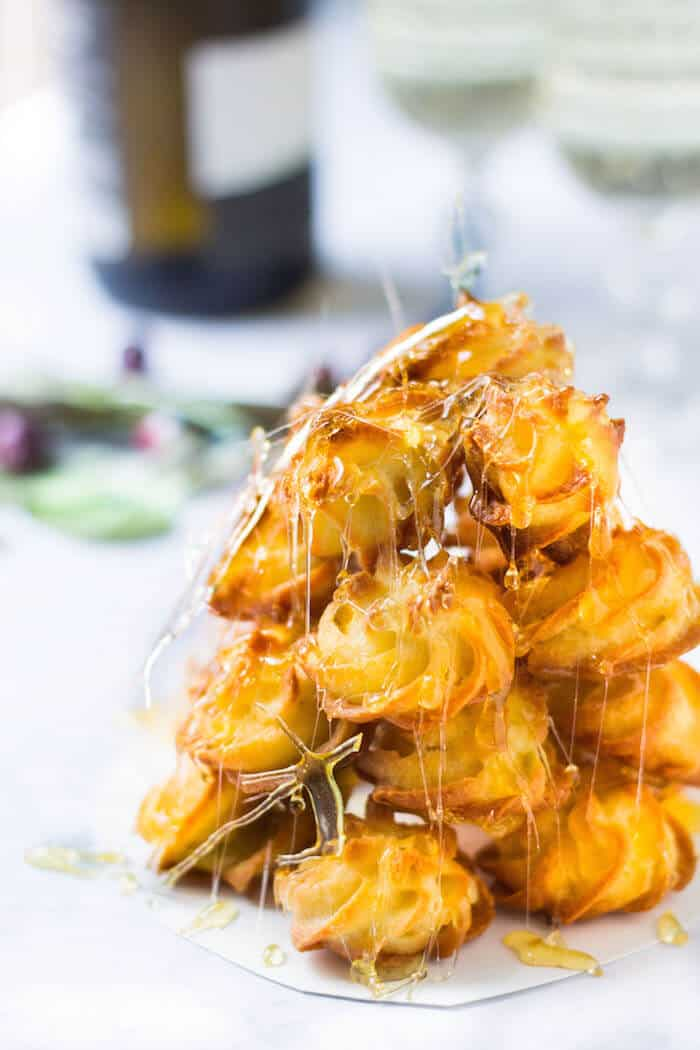 croquembouche tower of cream puffs - close up shot