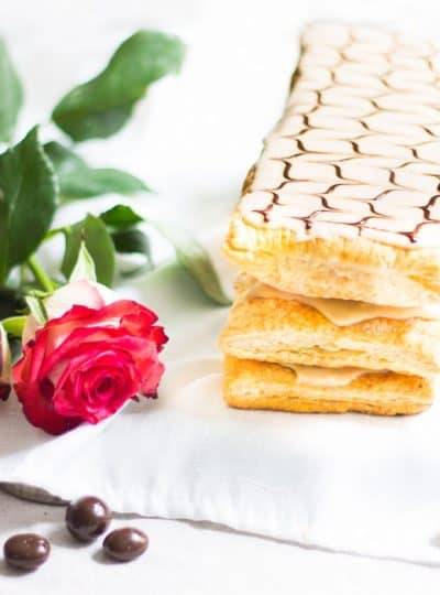Mille-Feuille Café: coffee-flavored napoleons made with pastry cream and puff pastry. A French dessert recipe via MonPetitFour.com