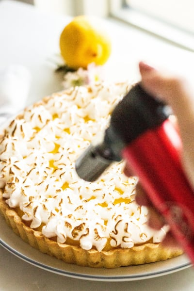 Newport Butane Kitchen Torch being used on meringue topping
