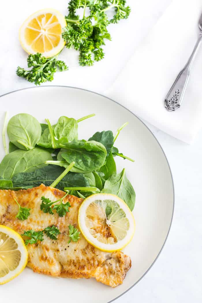 Sole Meunière: Fish pan-fried in a lemon-butter sauce. 10 minute meal! Recipe via MonPetitFour.com
