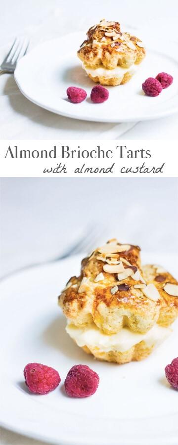 Almond Tarts made with brioche and almond custard. Recipe via MonPetitFour.com