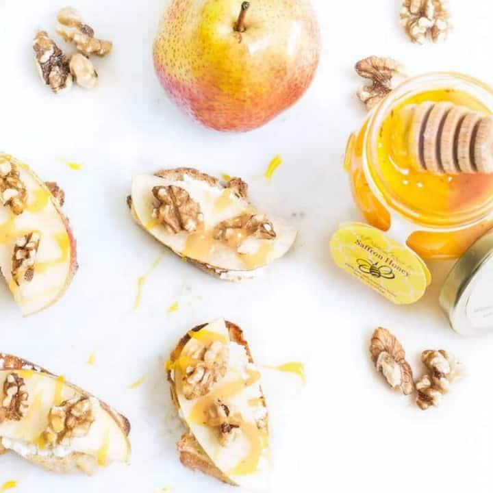 Pear Walnut Crostini with Saffron Honey