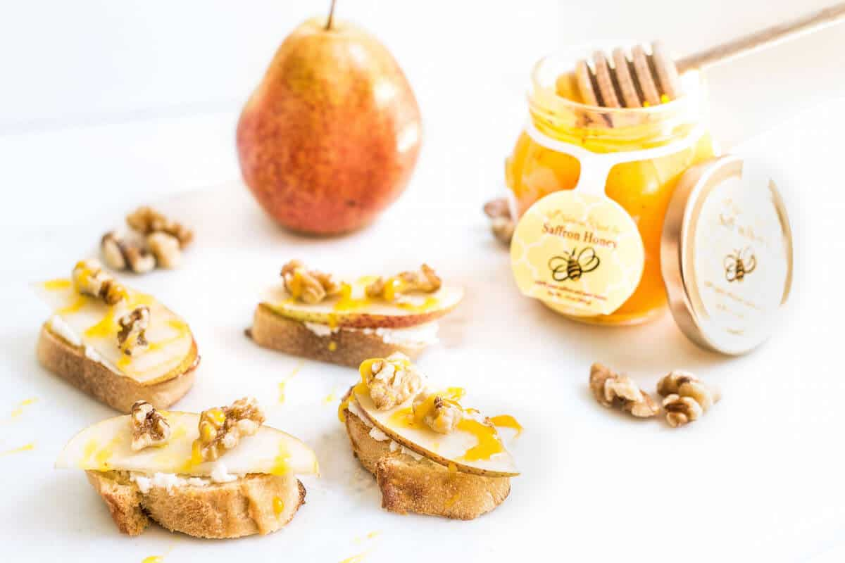 Pear Walnut Crostini with Saffron Honey