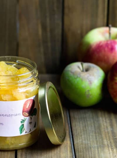 Apple Jam Recipe in a jar next to apples