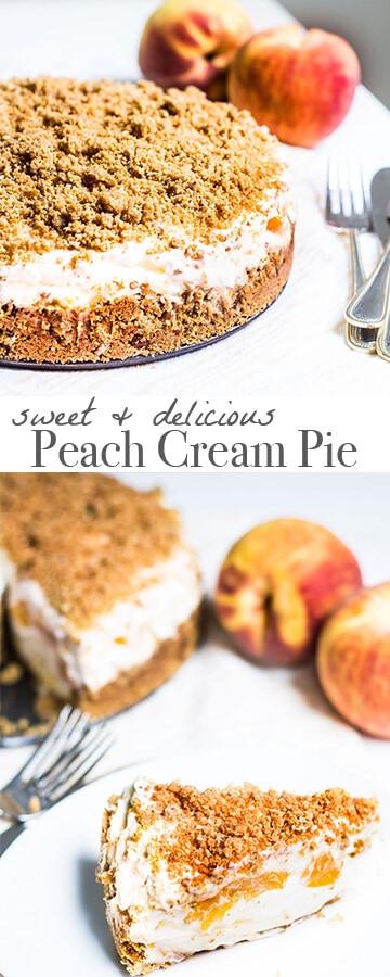 Peach Cream Pie: a peach dessert you can enjoy all year long! Recipe via MonPetitFour.com