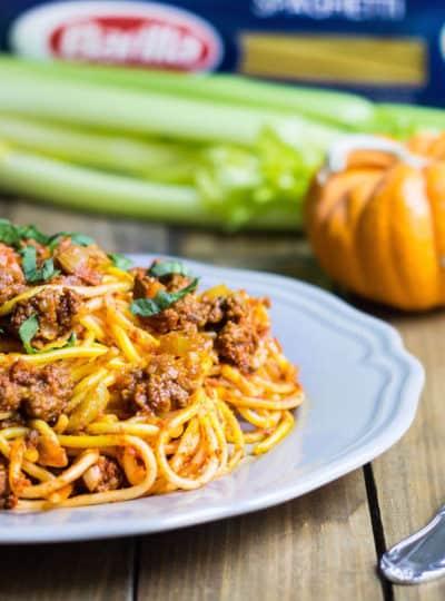 pumpkin bolognese spaghetti