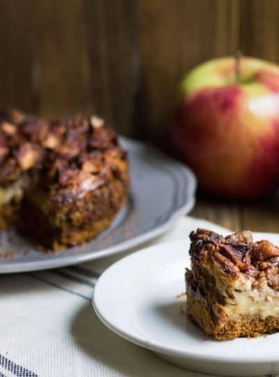 Apple Pecan Cheesecake - SO good! Recipe via MonPetitFour.com