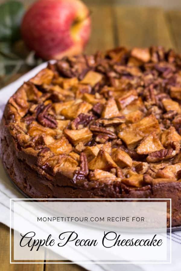 Apple Pecan Cheesecake Recipe via MonPetitFour.com