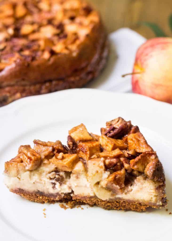 Apple Pecan Cheesecake slice close-up