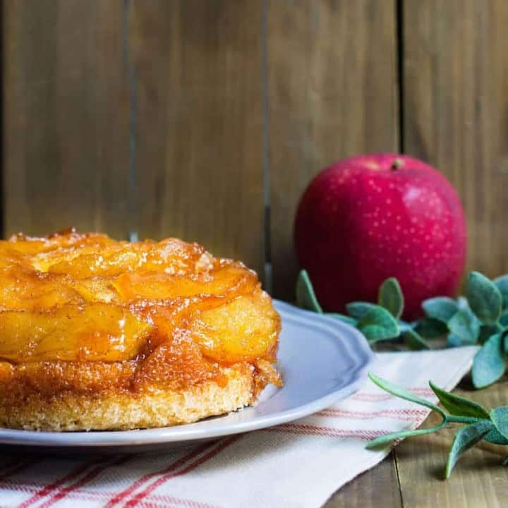 Upside-Down Apple Cake - A delicious French cake with caramelized apples. Recipe via MonPetitFour.com
