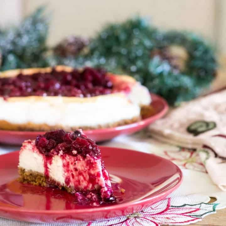Rich and creamy cheesecake with a deliciously sweet and tart cranberry compote on top. Recipe via MonPetitFour.com