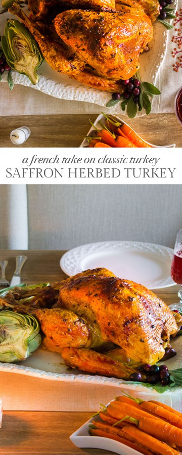 Saffron Herbed Turkey: A flavorful, juicy turkey infused with French herbs and delicate saffron. Recipe via MonPetitFour.com