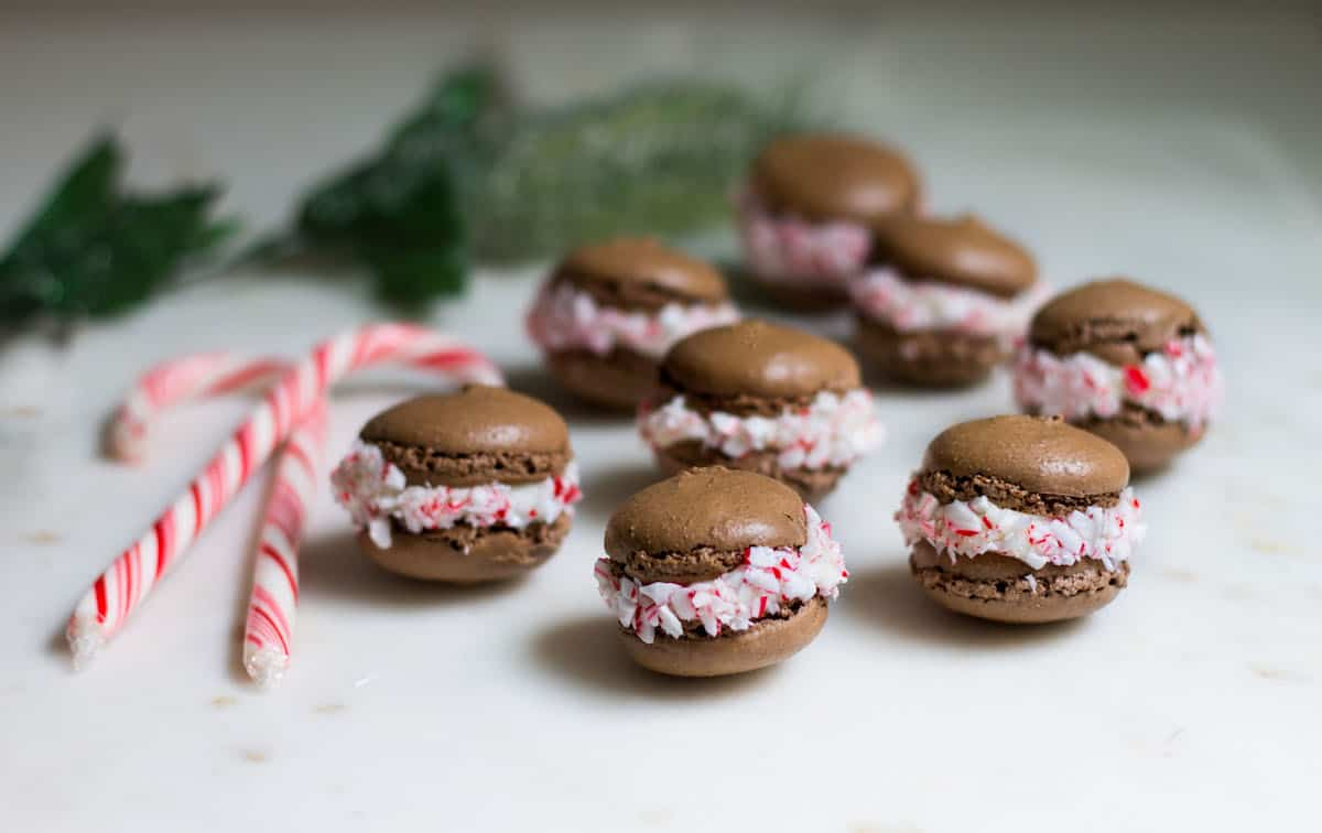 Chocolate Peppermint Macarons for a Parisian Holiday