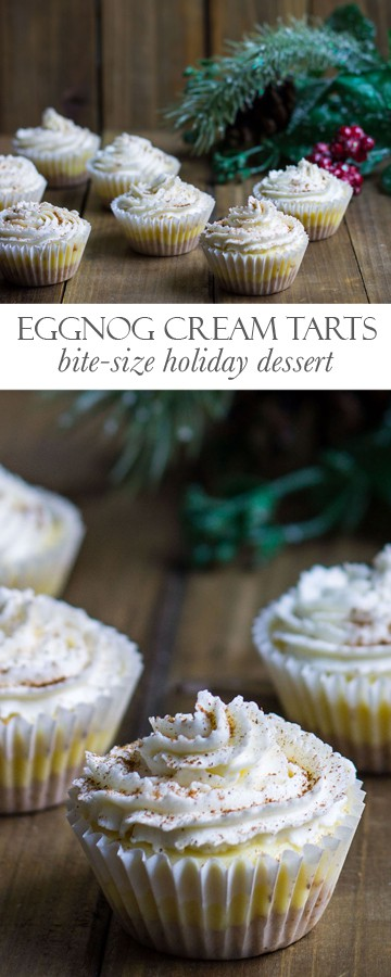 Eggnog Cream Tarts: bite-size and perfect for your holiday party! Recipe via MonPetitFour.com
