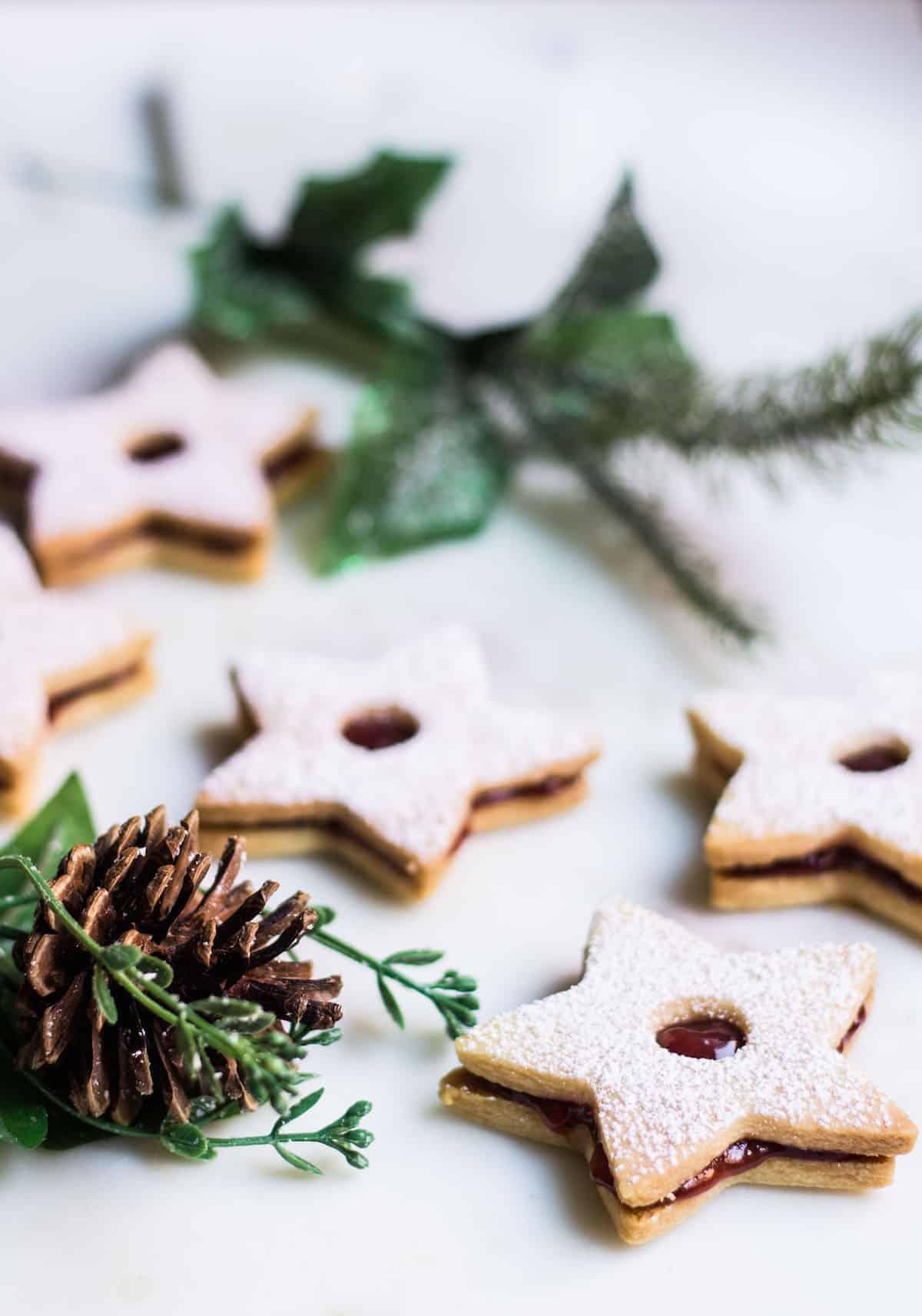 Linzer Cookies made with almond flour and strawberry jam. Recipe via MonPetitFour.com