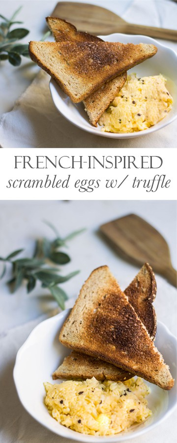 Scrambled Eggs with Truffle. French-style eggs with delicious truffle paste! Recipe via MonPetitFour.com