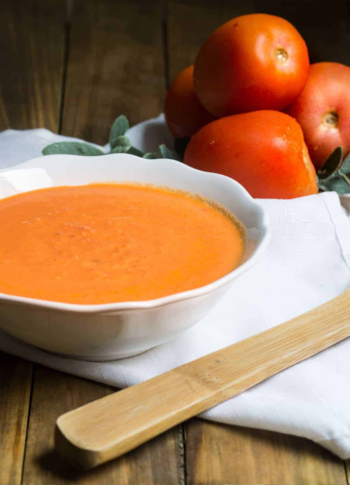 Tomato Soup: rich and creamy, made in a cinch! Recipe via MonPetitFour.com