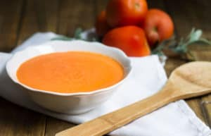 Tomato Soup: rich and creamy, made in a cinch! Recipe via MonPetitFour.com
