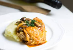 Chicken Chasseur (Hunter's Chicken): a one-pot meal of chicken with mushrooms in a white wine-tomato sauce. Recipe via MonPetitFour.com