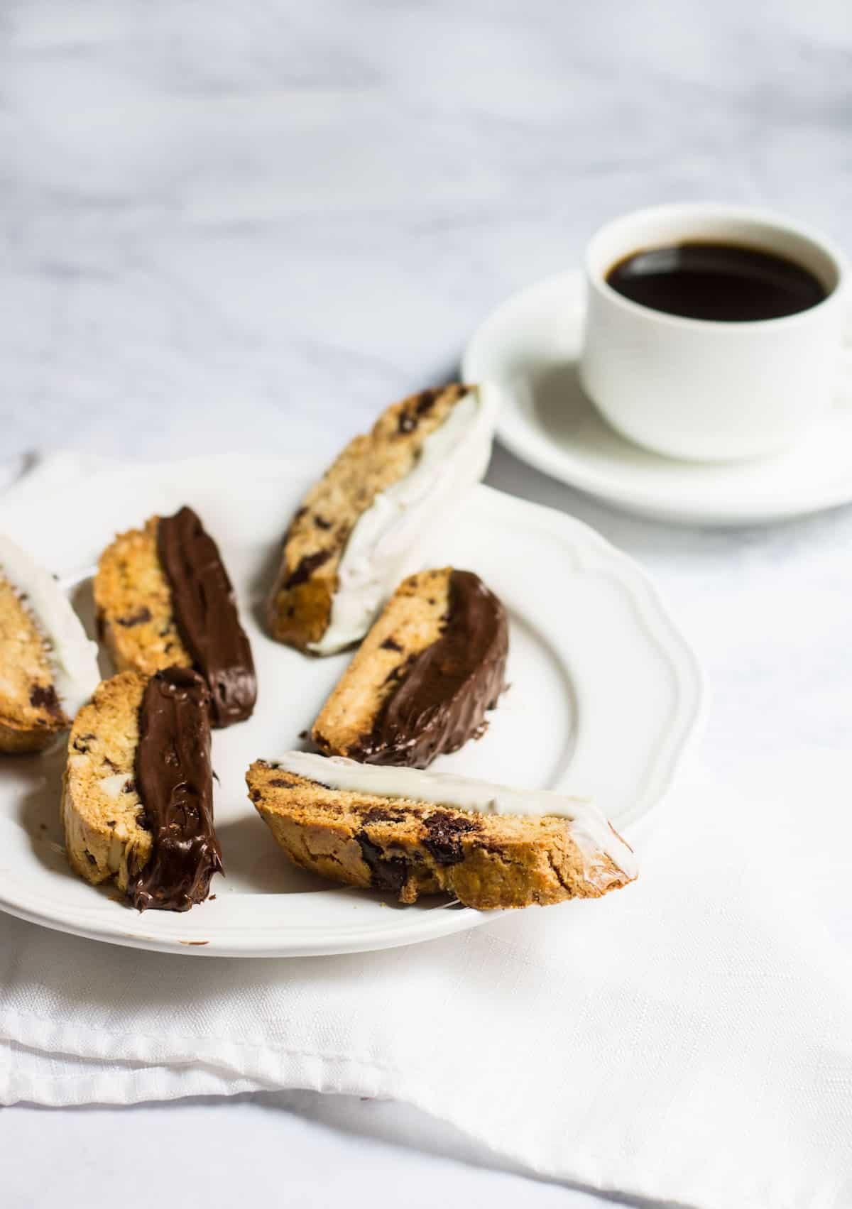 Chocolate-Dipped Almond Biscotti - Mon Petit Four